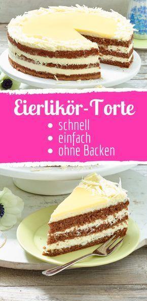 Einfach und schnell: Weiße Schokoladen-Eierlikör-Torte #tortenrezepte