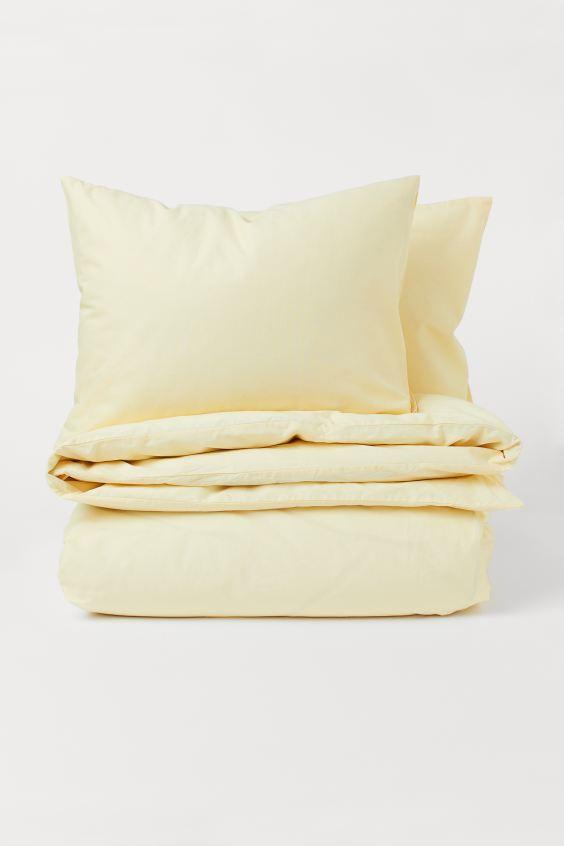 Cotton Duvet Cover Set Sage Green Home All H M Us Duvet Covers Yellow Yellow Duvet Duvet Cover Sets