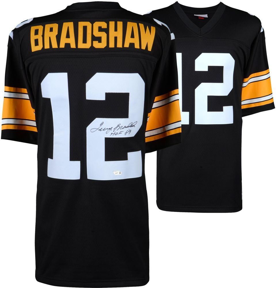 8a77be8ef Terry Bradshaw Steelers Signed M N Throwback Black Replica Jersey   HOF89  Insc  sportsmemorabilia  autograph  football