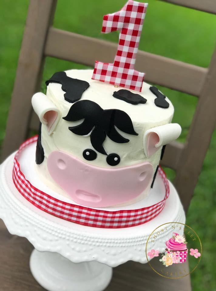 Barnyard Inspired Cow Birthday Cake Short N Sweet Cakery