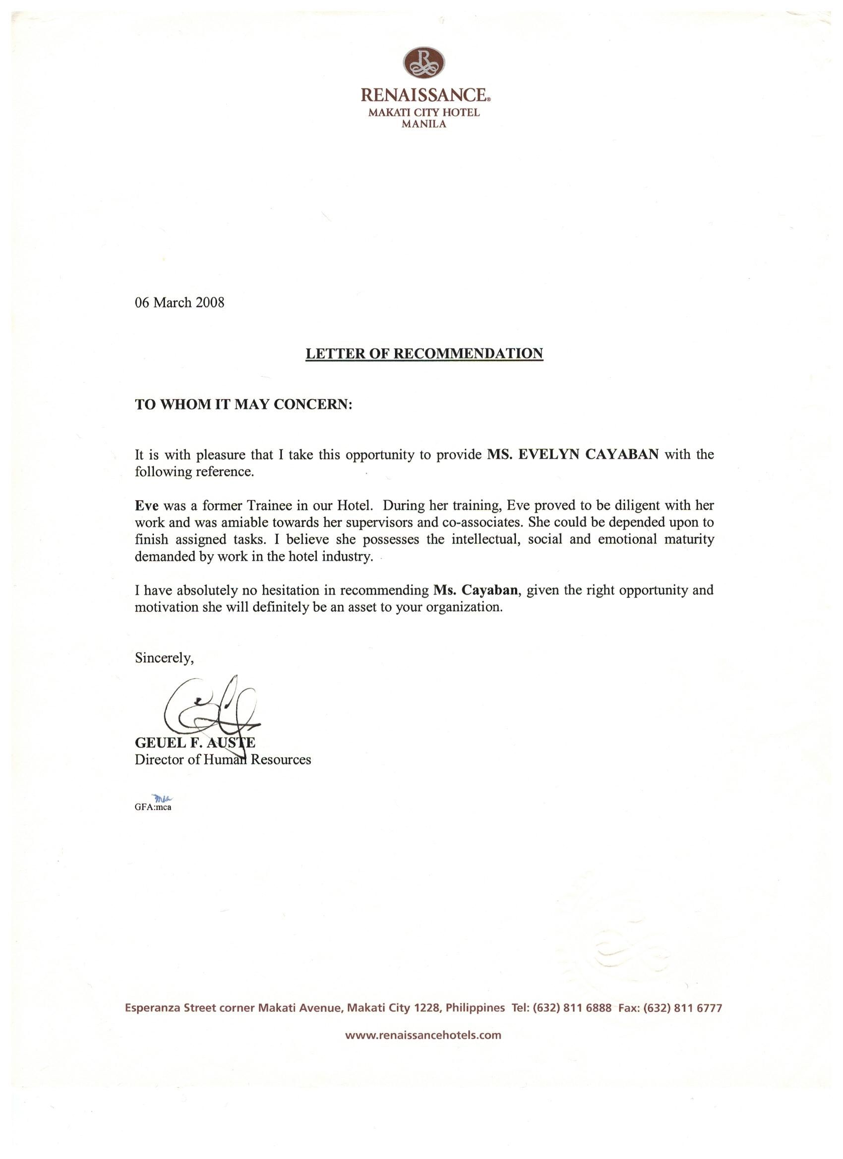 Recommendation letter from renaissance makati city hotel for Hotel recommendation