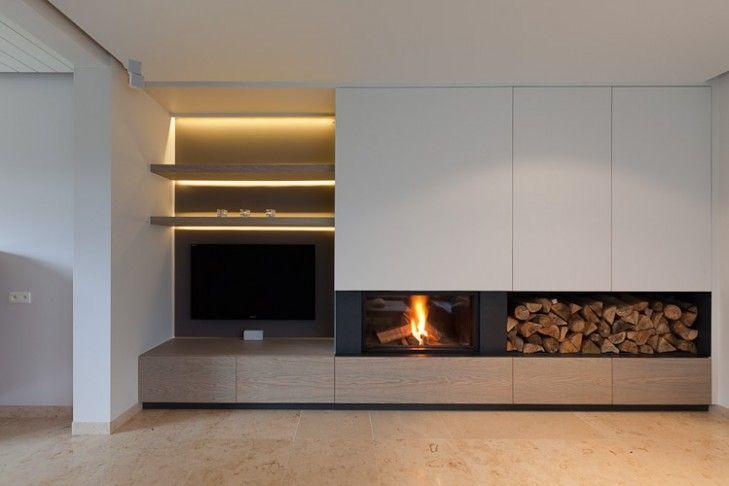 Landelijk strak google zoeken idee n voor het huis pinterest salons and living rooms - Deco moderne open haard ...