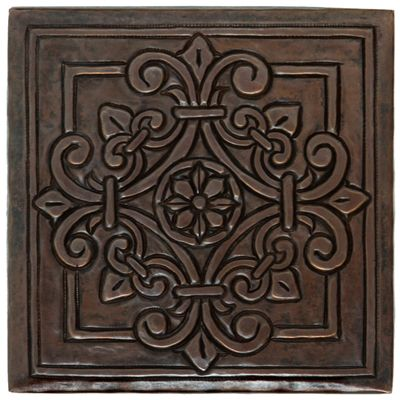 Tl982 Square Fleur Medallion Design Copper Tile Maybe Putting This In 12x12 Behind Stove Copper Tiles Copper Kitchen Sink Custom Copper Sinks