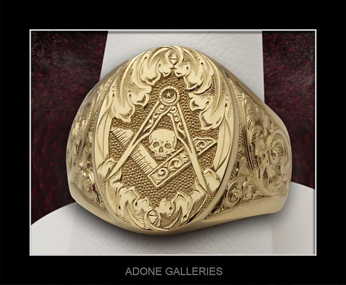 EngravingArts, Adone Galleries, Custom Engraved Mason Skull signet ring