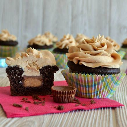 Peanut Butter Buttercream Frosting Tops Off a Surprise Filled Cupcake1