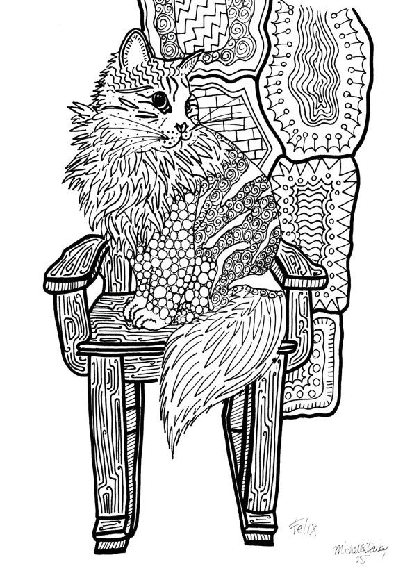 customized zentangle colouring page of your pet