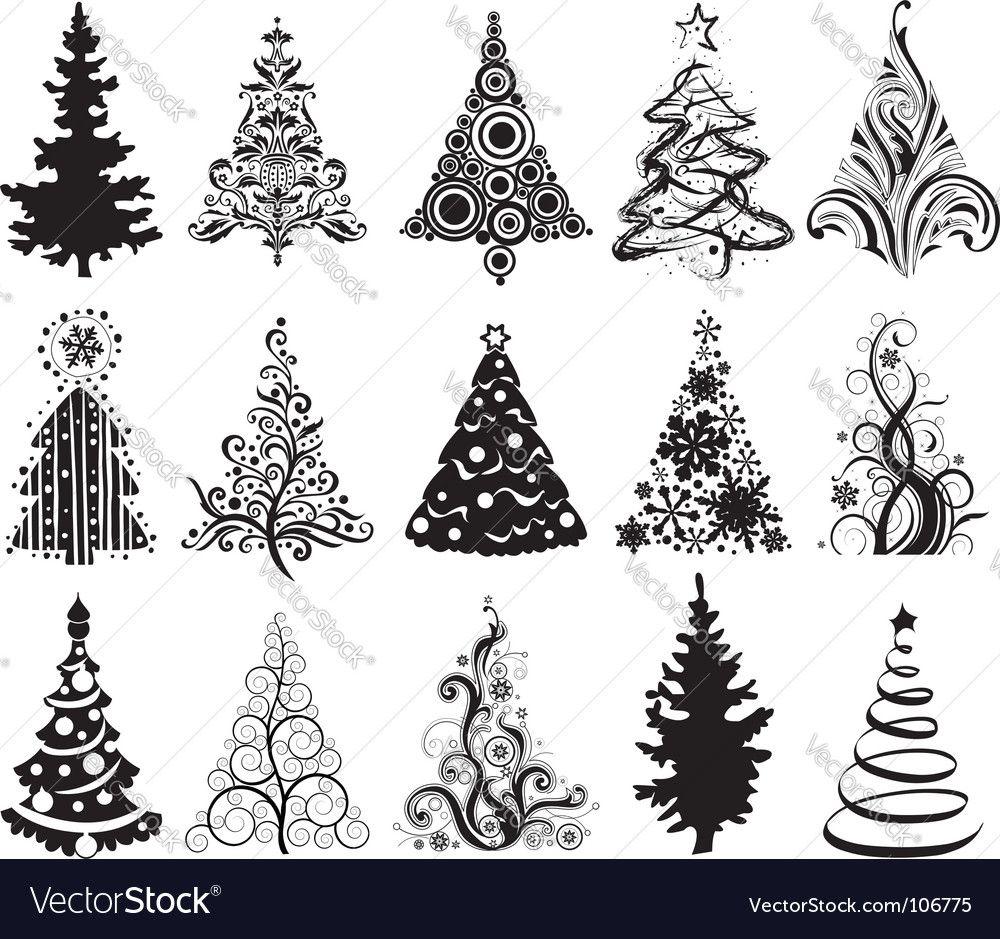 Christmas trees vector image on (avec images) Arbres de