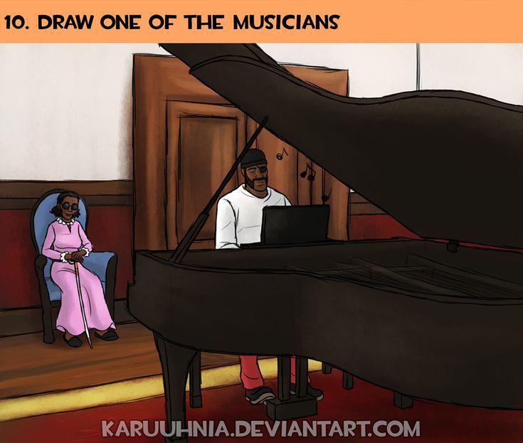 Défi de dessin de 30 jours TF2 Jour 10: J'ai le canon de tête qui dit que Demo joue toujours du piano pour sa mère le soir parce qu'elle aime beaucoup la musique. ...