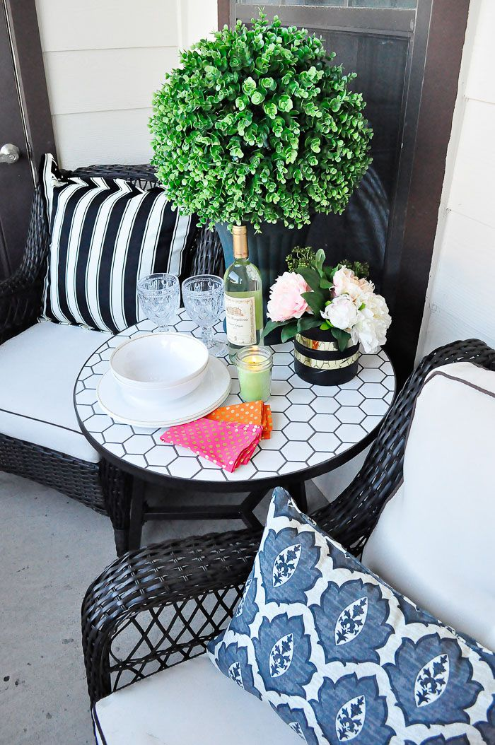 Decor ideas and inspiration on how to maximize style and space in a small space or apartment patio with some gorgeous finds from walmart bhglivebetter ad