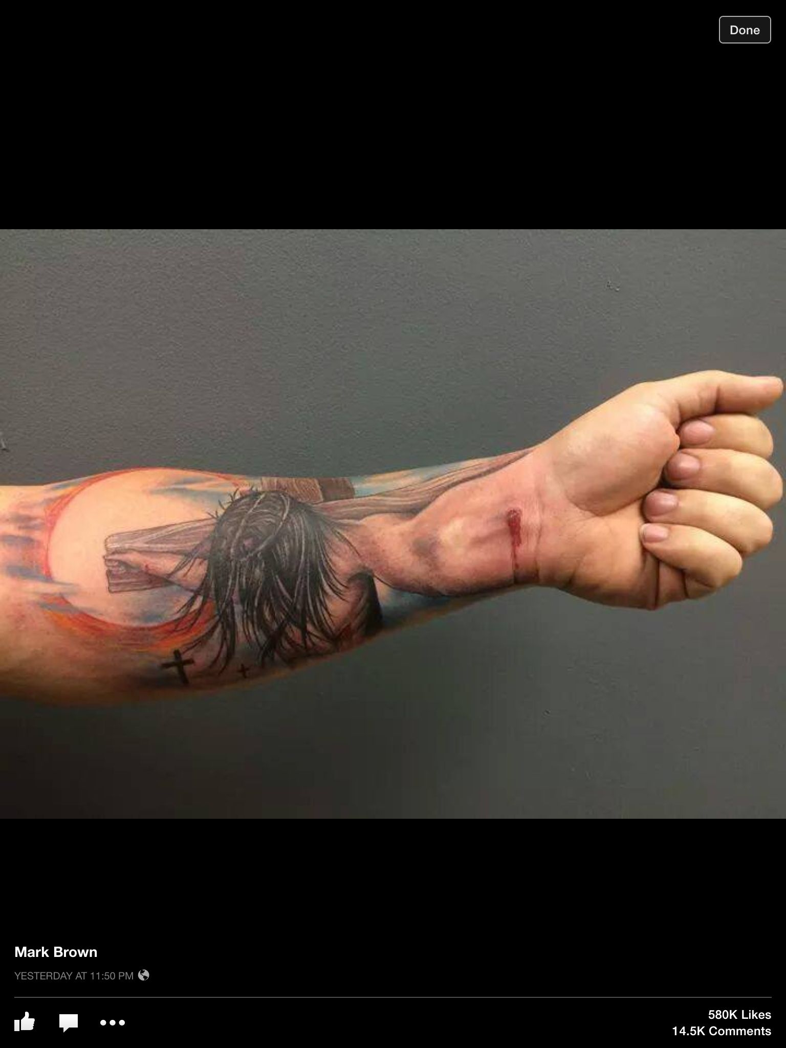 4299ede17 Crucified with Christ 3D arm wrist tattoo. I have been crucified with Christ  and I no longer live, but Christ lives in me. The life I now live in the  body, ...
