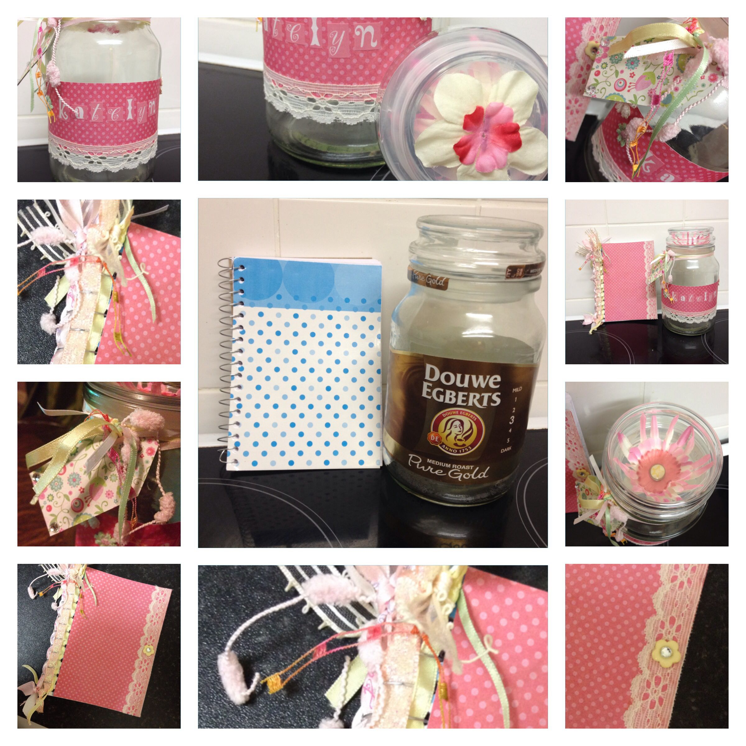 Making Gifts From Douwe Egbert Jars And A Plain Notepad Coffee Jars Bottles And Jars Jar Crafts