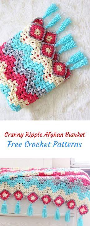 Granny Ripple Afghan Blanket Free Crochet Pattern Crochet Yarn