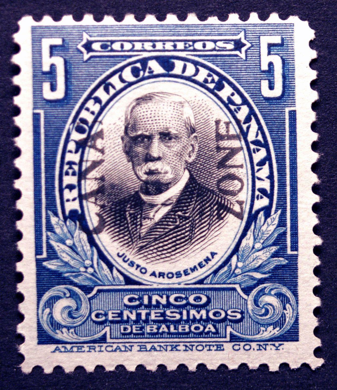 Canal Zone #54 5c 1920 Blue & Black Missing L Imprint Error