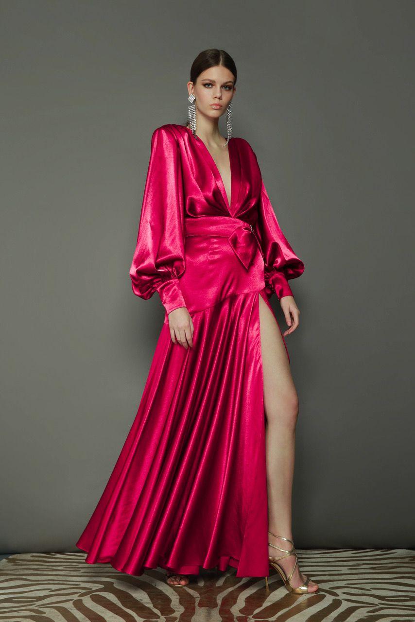 Carmen Fuschia Gown Bronx And Banco Summer Evening Dress Maxi Dress Evening Long Sleeve Evening Dresses [ 1280 x 854 Pixel ]