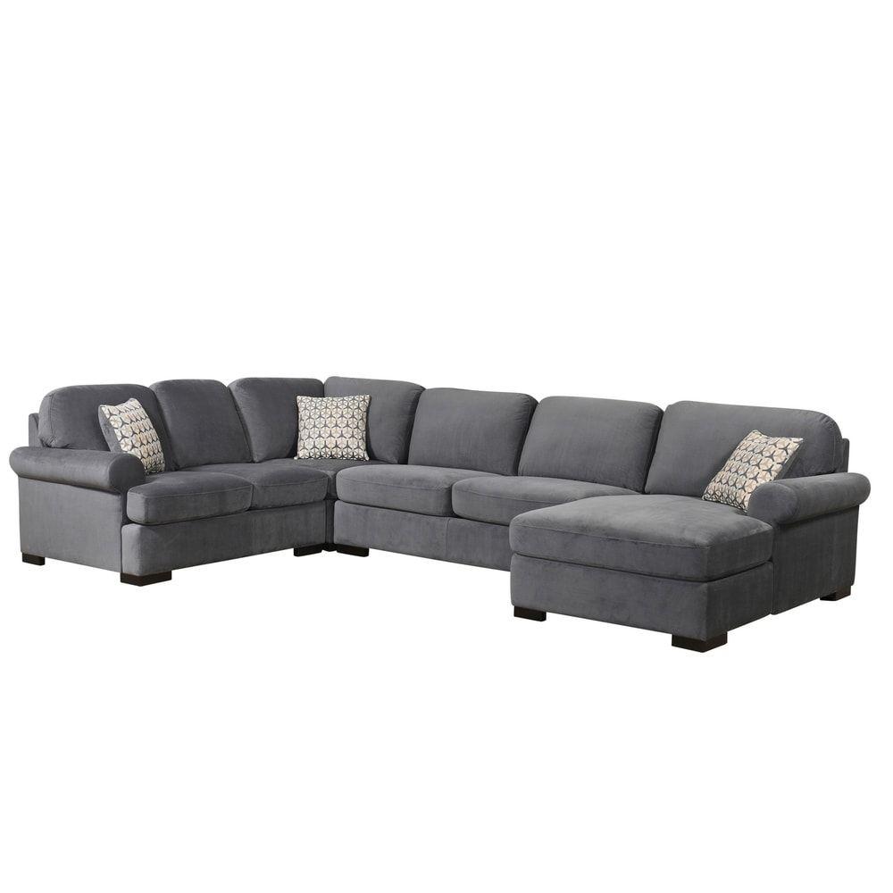 Shop Abbyson Tanya Grey Fabric 4-piece Sectional Sofa - On ...