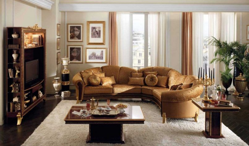 Living Room White Wall Golden Brown Sofa Brown Wooden Coffee Table