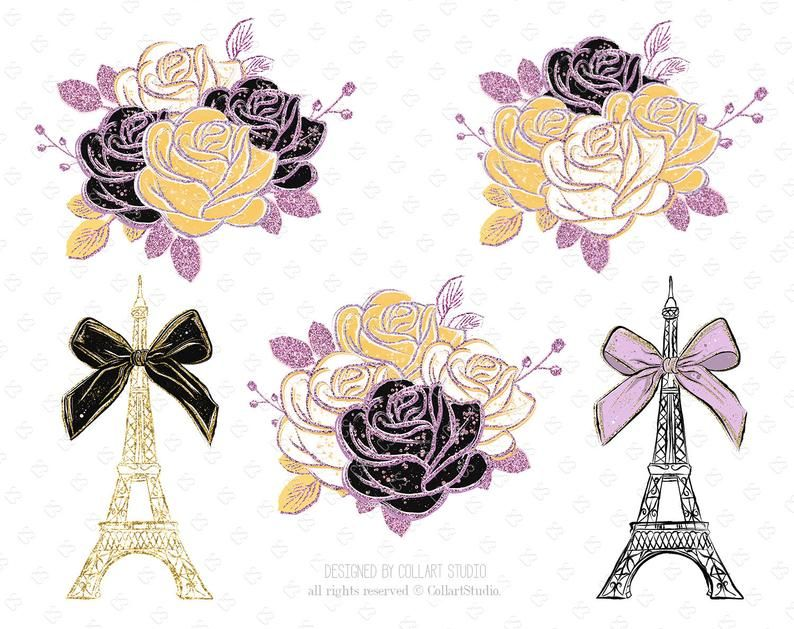 glitter stickers Floral clipart garden clip art planner stickers spring clipart fashion illustration planner girl floral illustrations