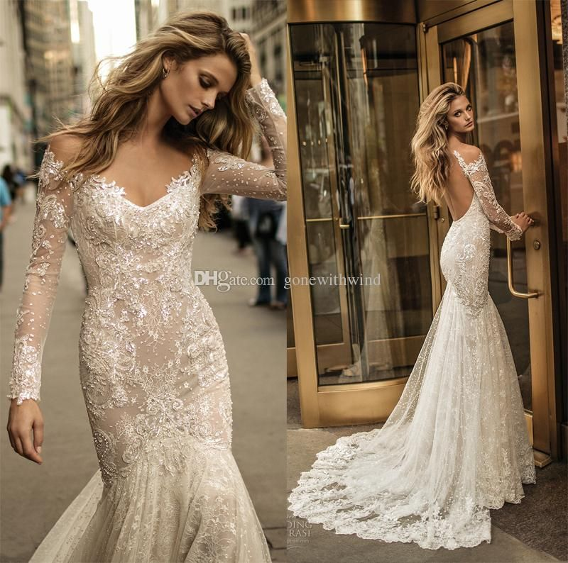 2017 long sleeve berta bridal wedding dresses fit and for Fit n flare lace wedding dress