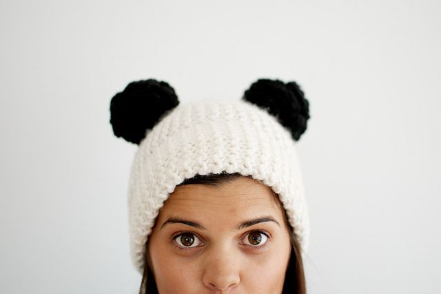 6ba20c06048 DIY  panda double pom pom beanie I think I cud make this!