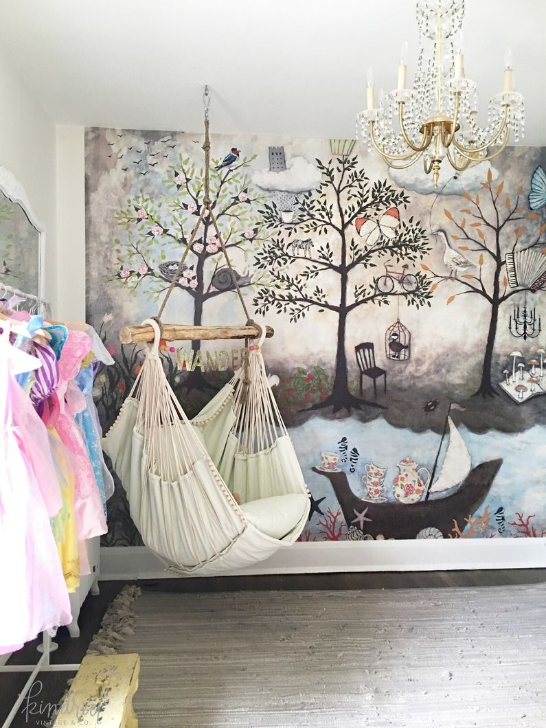 Bedroom swing hammock in child 39 s room interiors for Anthropologie enchanted forest mural