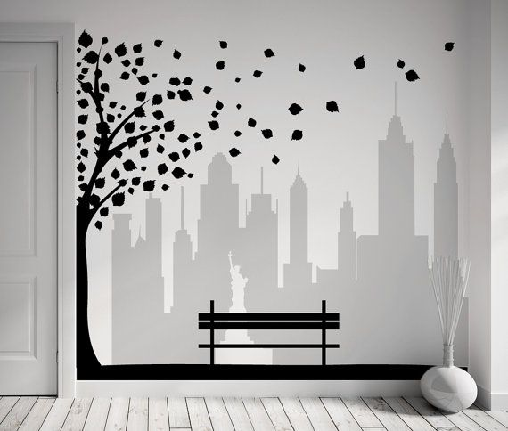 Wall Decal New York City View With Tree Leaves And Bench 2 Colors For Unique Decoration In Your Customized Size