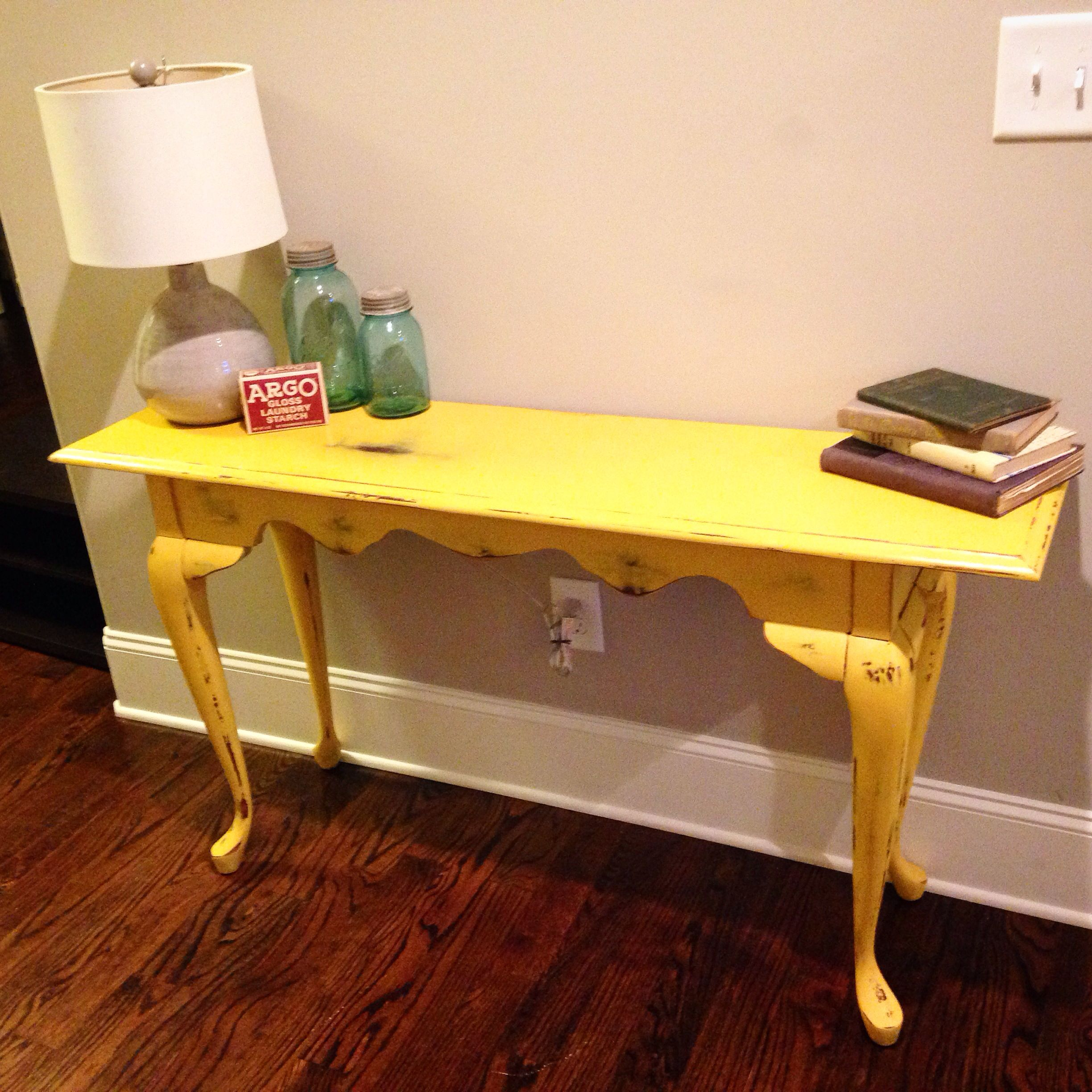 Distressed Yellow Entry Table Sanded Painted Sanded To Look Shabby Then Used Furniture Paste To Make It Looked Finished Entry Table Diy Upcycle Furniture