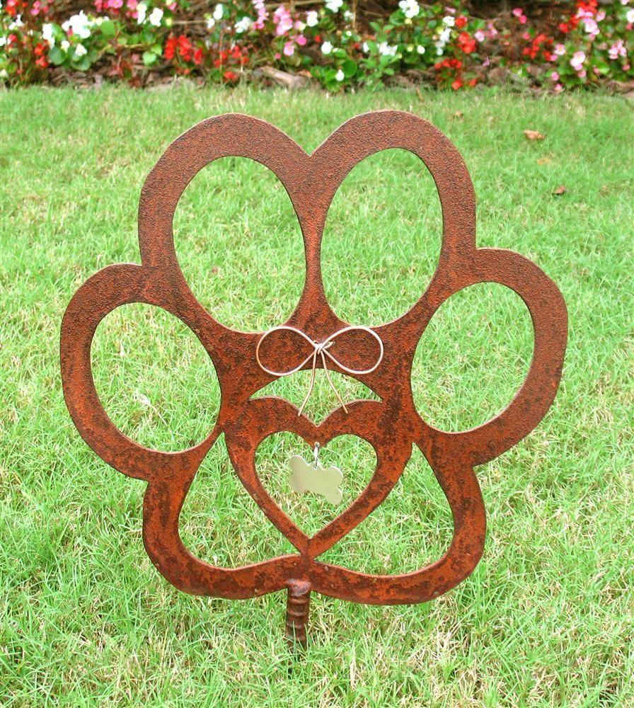 Dog Paw Metal Garden Stake | Metal garden art, Metal yard ...