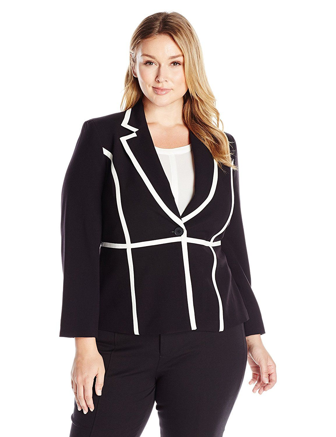 b5869d8f3ad71 Nine West Women s Plus-Size One-Button Piped Jacket   Find out more details  by clicking the image   Plus size coats