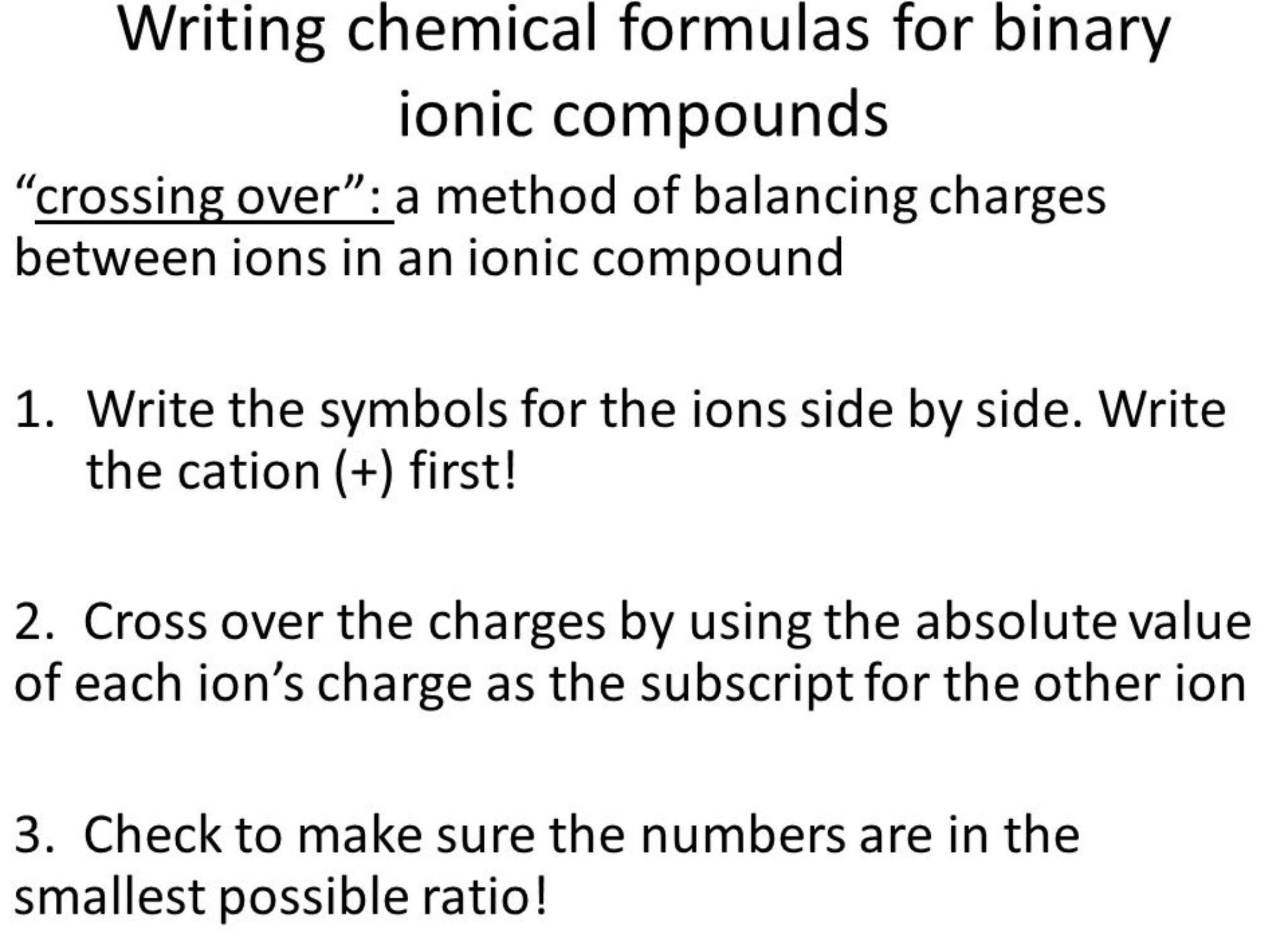 Writing Chemical Formulas For Binary Ionic Compounds