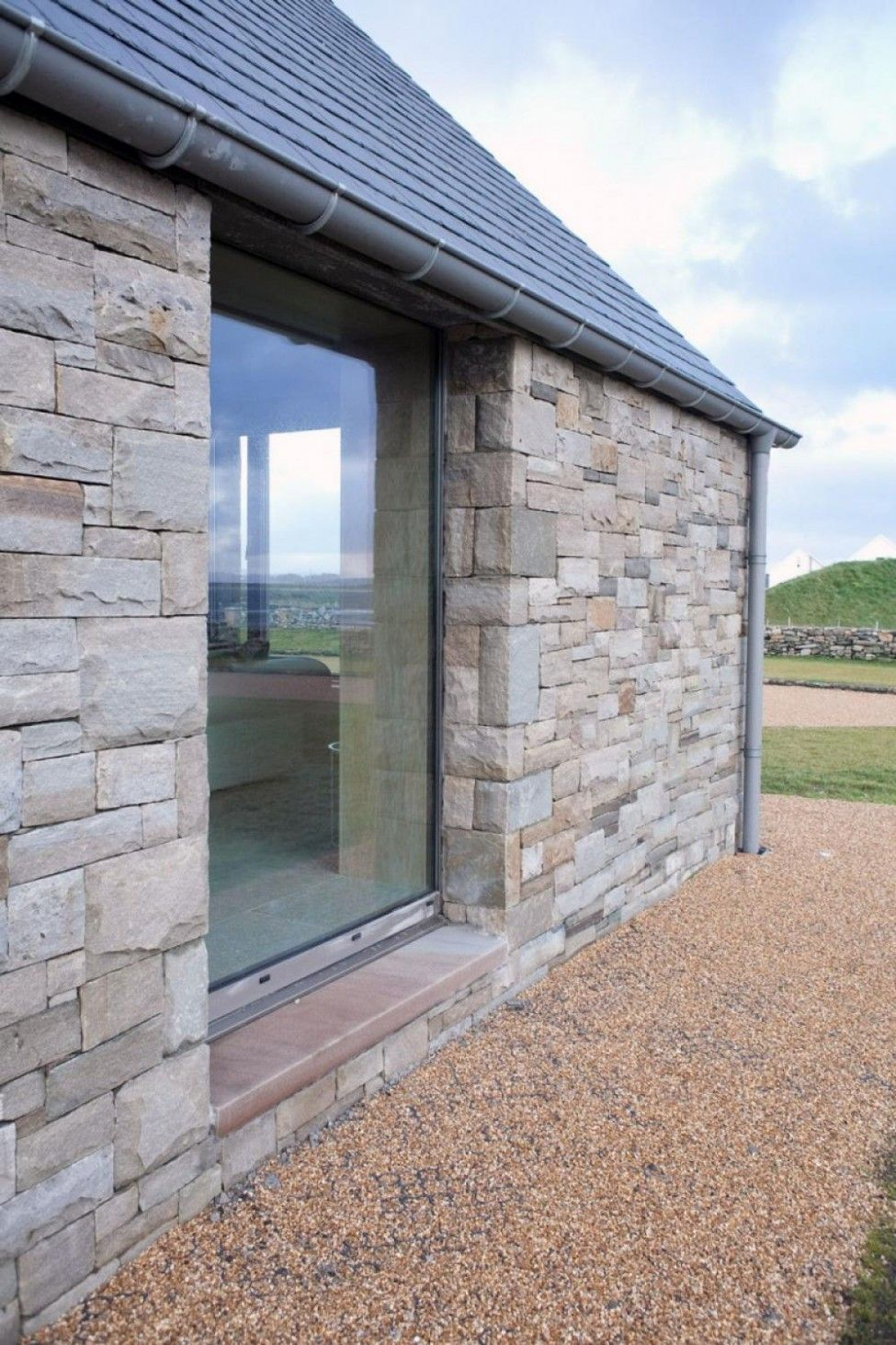 Stone Wall House With Large Glass Windows Great Country House ...