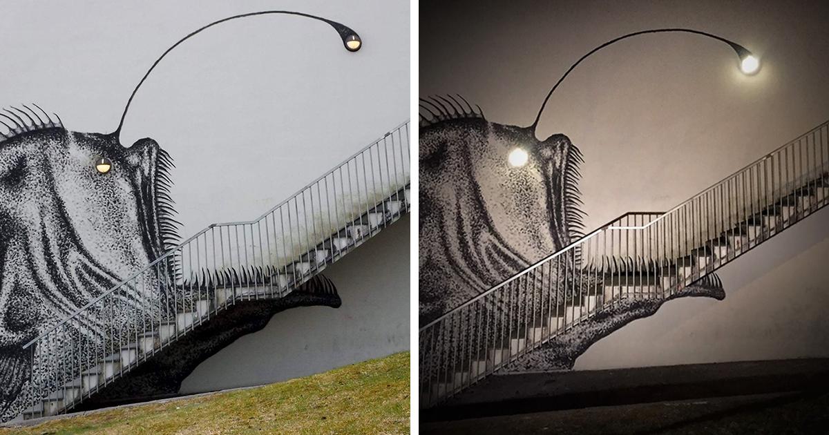 Street Artist Turns Boring Stairs Into Nightmarish Anglerfish #creativity #funny