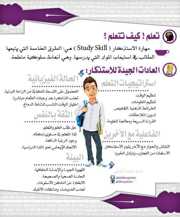 طرق الاستذكار الجيد Study Skills Education Learning