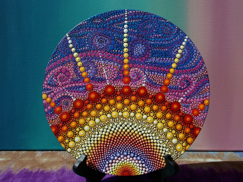 Sunburst Dot Mandala Painting On Wood, Original Art By