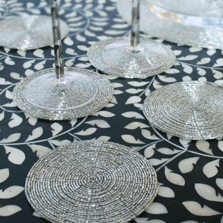 Round Silver Beaded Coasters Placemats From Graham And Green