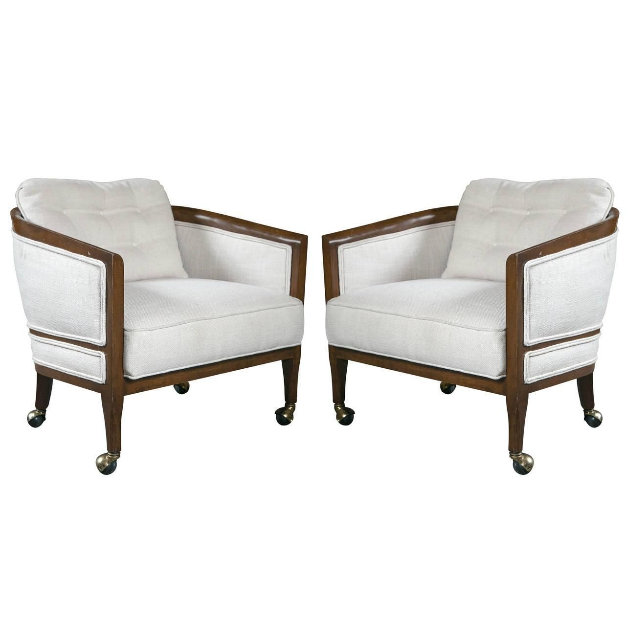 Superieur Mid Century Club Chairs On Casters   A Pair