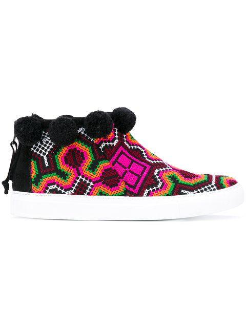 JOSHUA SANDERS Designer Shoes, Namibia Multicolor Fabric High Top Sneaker