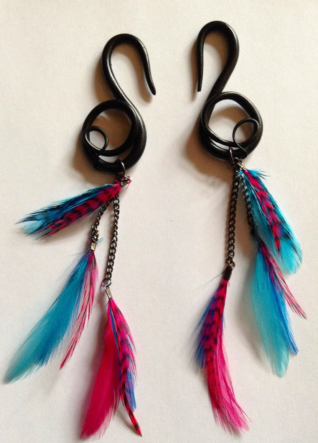 Black pink and blue feather polymer clay gauges g by finchfinery