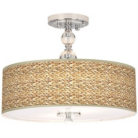 Seagrass Giclee 16 Wide Semi Flush Ceiling Light N7956 R0008