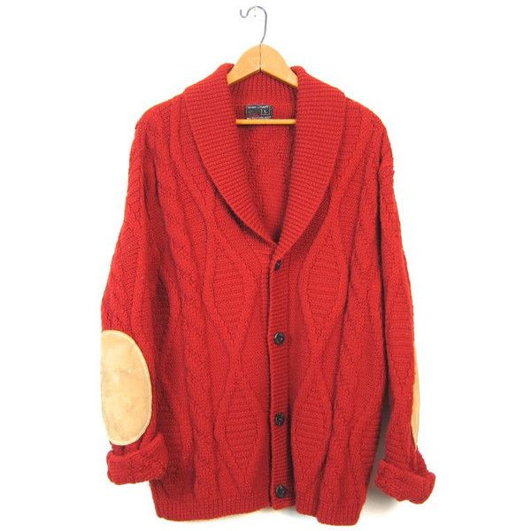 Oversized Cardigan Sweater Burnt Orange Thick Button Up Cable Knit ...
