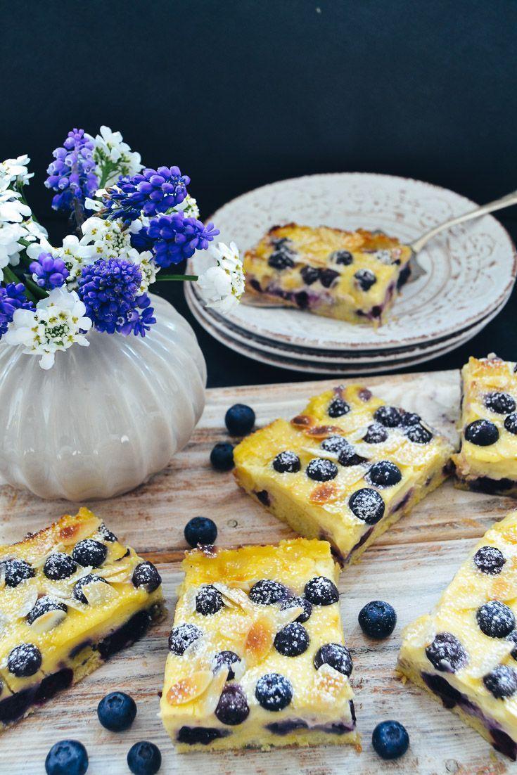Einfacher Blechkuchen mit Schmand und Blaubeeren #sourcream