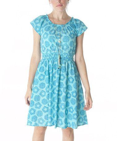 Sky Blue Twist & Twirl Cap-Sleeve Dress - Women by Mata Traders #zulily #zulilyfinds