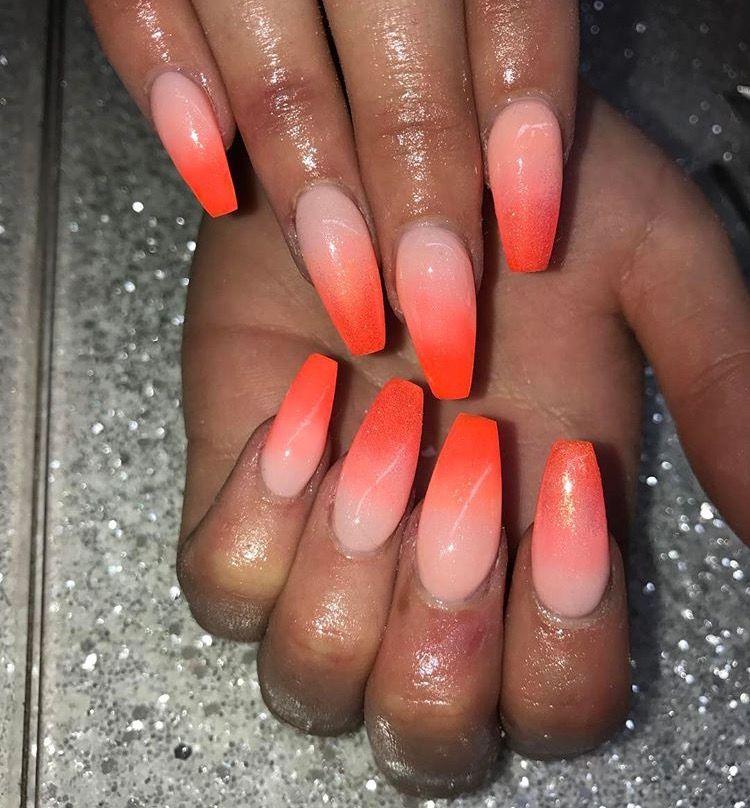 Orange Ombre Gel Acrylic Nails Chrome Nail Acrylics Long Polish Gel Glitter Summer Nail Art Orange Acrylic Nails Gel Acrylic Nails Orange Ombre Nails