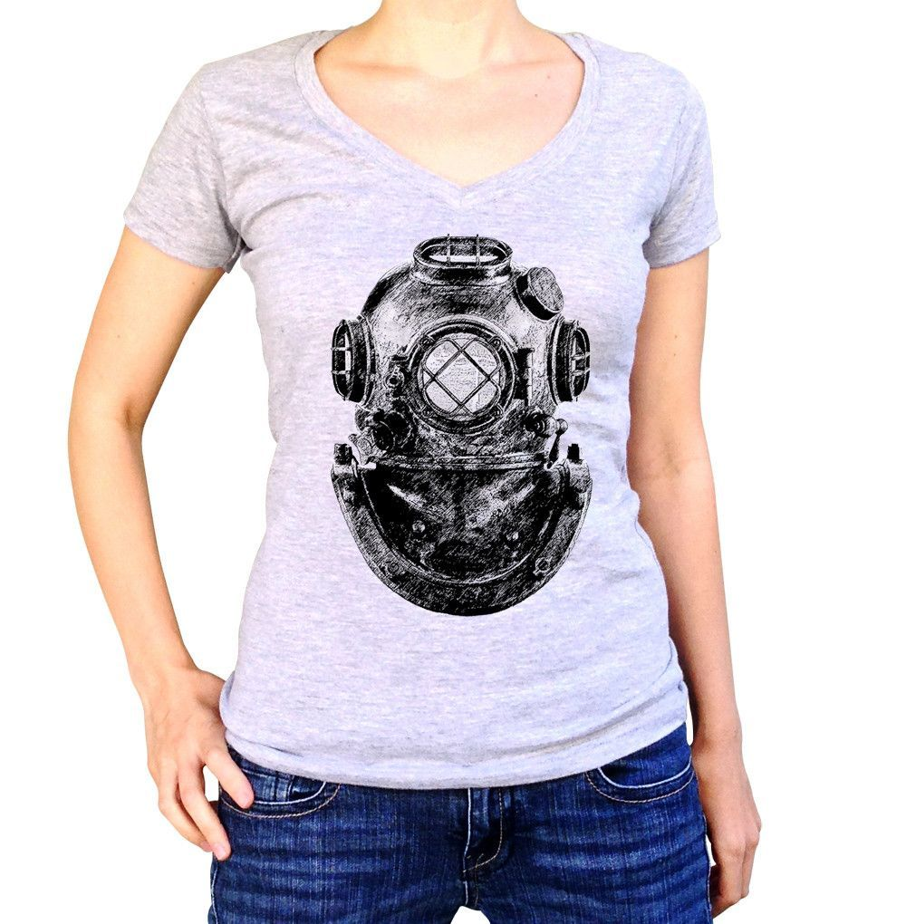 Women's Vintage Diver Helmet Vneck T-Shirt - Juniors Fit Steampunk