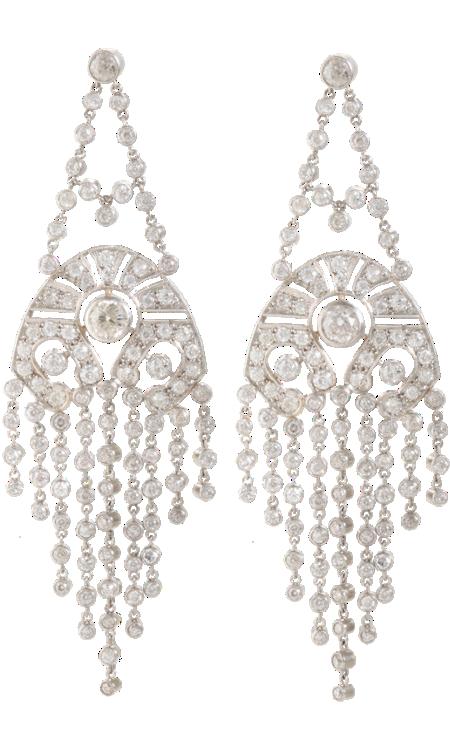 Olivia Collings Antique Jewelry Old Cut Diamond Tassel Earrings