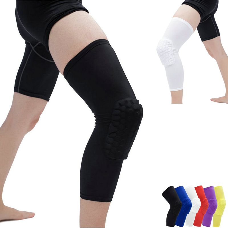 2 Pcs Compression Leg Sleeve Elastic Breathable Knee Protector Skate Tennis Basketball Sport Safety Knee Compression Leg Sleeves Safety Knee Pads Sport Safety