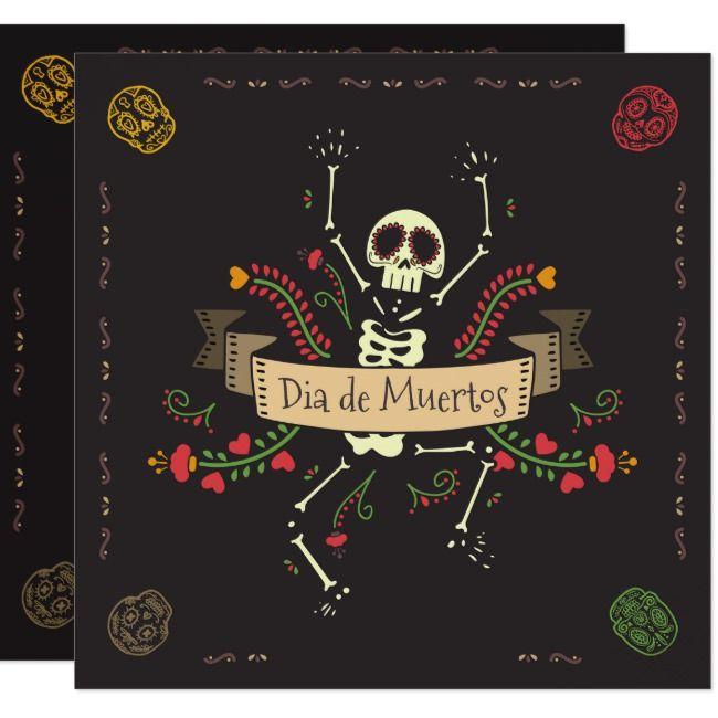 Dia de los Muertos Halloween Party Invitation |  Dia de los Muertos Halloween Party Invitation Ships worldwide.