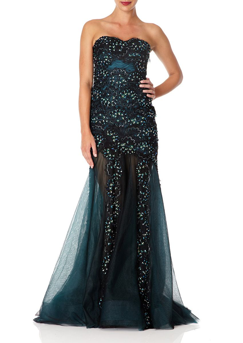 34e4a983a733 Forever Unique long emerald green and black layered lace and mesh strapless evening  dress