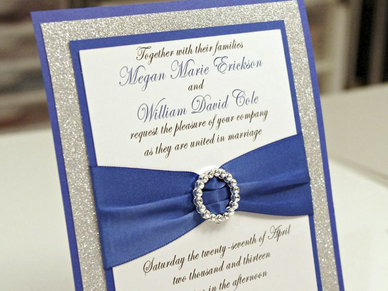 blue wedding invitations cheap | royal blue diy wedding invitation ...