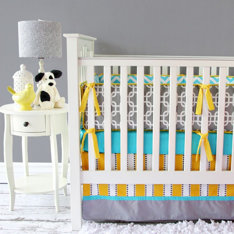 Gray Yellow And Aqua Crib Bedding Perfect For A Gender Neutral Nursery