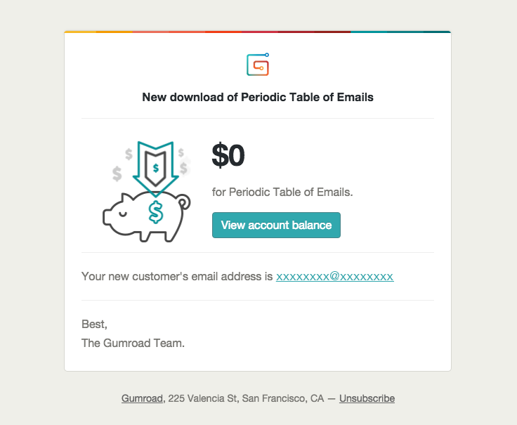 Gumroad Sent This Email With The Subject Line New Download Of Periodic Table Of Emails Read About This Email And Find More Receipt Emails At Reallygoodemails
